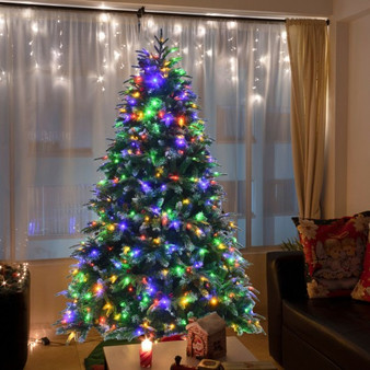 Pre-Lit Snowy Christmas Hinged Tree With Multi-Color Lights-7' (CM23602US)
