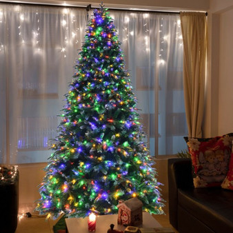 Pre-Lit Snowy Christmas Hinged Tree With Multi-Color Lights-9' (CM23603US)
