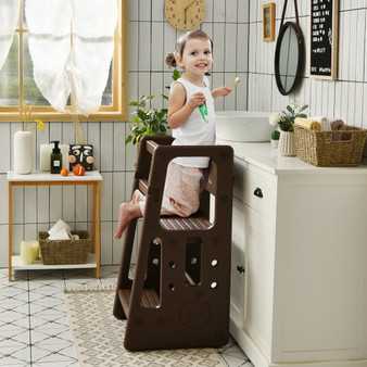 Kids Kitchen Step Stool With Double Safety Rails -Brown (HY10011CF)
