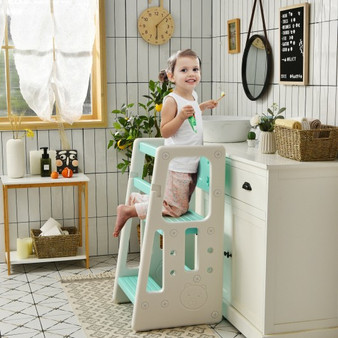 Kids Kitchen Step Stool With Double Safety Rails -Green (HY10011GN)