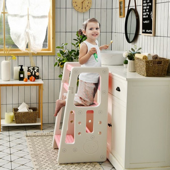 Kids Kitchen Step Stool With Double Safety Rails -Pink (HY10011PI)