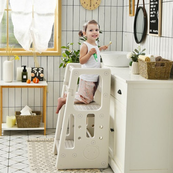 Kids Kitchen Step Stool With Double Safety Rails -Gray (HY10011HS)