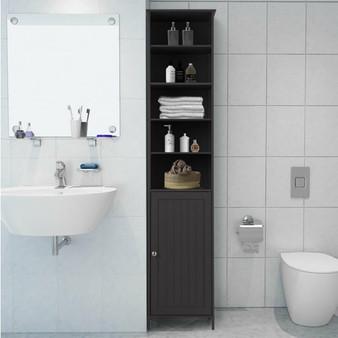 72'' Bathroom Tall Floor Storage Cabinet Freestand Shelving Display Brown (HW66093CF)