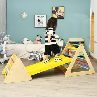 3 In 1 Kids Climbing Ladder Set 2 Triangle Climbers With Ramp For Sliding (TY327951)