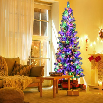 8Ft Pre-Lit Hinged Snow Flocked Christmas Tree With Remote Control (CM23513US)