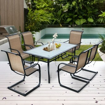 7 Pieces Patio Dining Furniture Set With Rustproof Frame (NP10094WL-CF+)