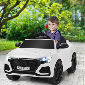 12 V Licensed Audi Q8 Kids Cars To Drive With Remote Control-White (TQ10021US-WH)