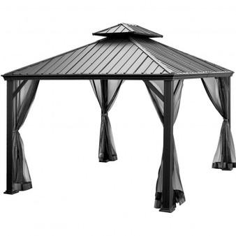 12 X 10 Feet Hardtop Gazebo 2-Tier Outdoor Galvanized Steel Canopy-Gray (NP10097WL-GR+)