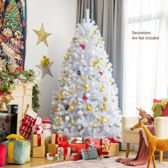7 Feet White Iridescent Tinsel Artificial'Christmas Tree With Metal Stand (CM23605)
