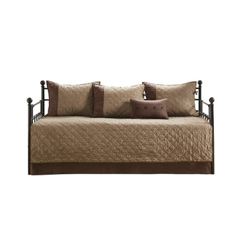 100% Polyester 6Pcs Day Bed Cover - Brown MP13-6572
