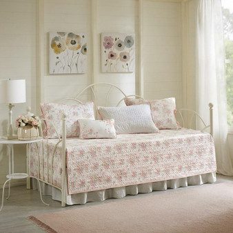 100% Cotton Printed 6Pcs Reversible Day Bed Cover - Coral MP13-3975