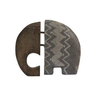 Earl Ecomix Elephant With Wood Set Of 2 - Gray Antique II167-960