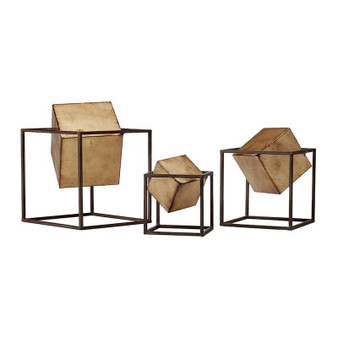 Gold Cube Decor Set Of 3 - Black/Gold MP167-0093