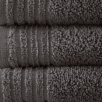 100% Cotton 12Pcs Bath Towel Set - Grey 5DS73-0201