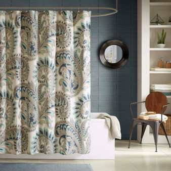 100% Cotton Printed Shower Curtain - Blue II70-233