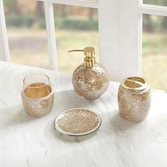4Pcs Crackle Mosaic Bath Accessory Set - Gold MP71-4894