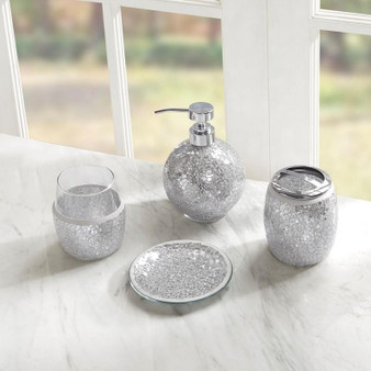 4Pcs Crackle Mosaic Bath Accessory Set - Silver MP71-4895