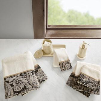 100% Cotton 6 Piece Jacquard Towel Set - Black MP73-5309