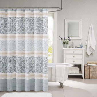 100% Cotton Printed And Pieced Shower Curtain - Blue MP70-2493