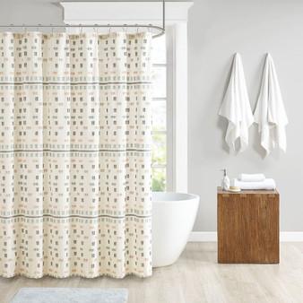 100% Cotton Jacquard Shower Curtain - Aqua UH70-2306