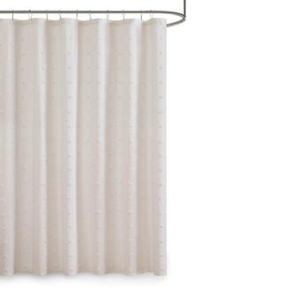 100% Cotton Jacquard Pom Pom Shower Curtain - Ivory UH70-2241