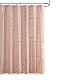 100% Cotton Jacquard Pom Pom Shower Curtain - Pink UH70-2242