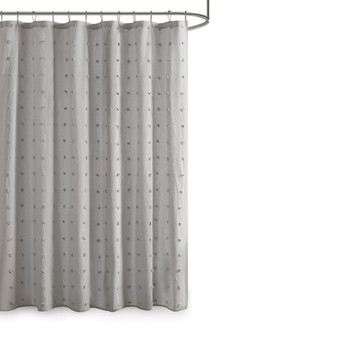 100% Cotton Jacquard Pom Pom Shower Curtain - Grey UH70-2244