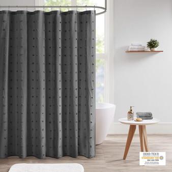 100% Cotton Jacquard Pom Pom Shower Curtain - Charcoal UH70-2311