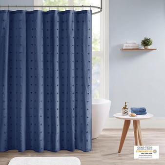 100% Cotton Jacquard Pom Pom Shower Curtain - Indigo Blue UH70-2312