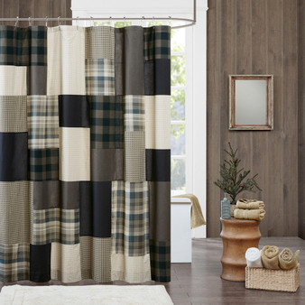100% Cotton Printed Pieced Lined Shower Curtain - Tan WR70-1815