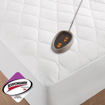 100% Polyester Microfiber Heated Mattress Pad W/3M Moisture Treatment - Twin XL BR55-0672