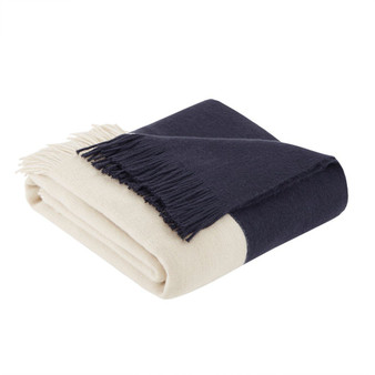 100% Acrylic Color Block Faux Cashmere Throw - Navy II50-1030