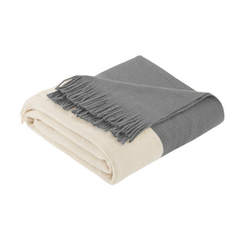 100% Acrylic Color Block Faux Cashmere Throw - Grey II50-1031