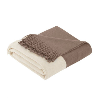100% Acrylic Color Block Faux Cashmere Throw - Taupe II50-238