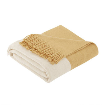 100% Acrylic Color Block Faux Cashmere Throw - Yellow II50-240