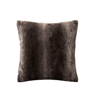 100% Polyester Faux Tip Dyed Brushed Long Fur Pillow W/ Knife Edge - Brown MP30-1914