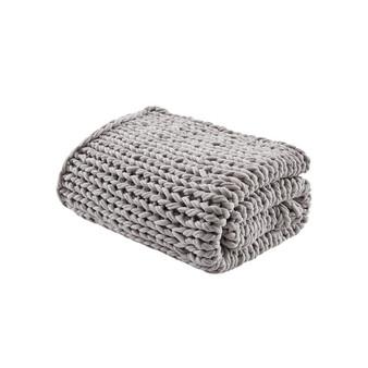 100% Acrylic Chunky Double Knit Throw - Grey MP50-6136