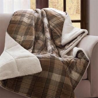 100% Polyester Cozy Spun/Berber Printed Throw - Brown WR50-1012