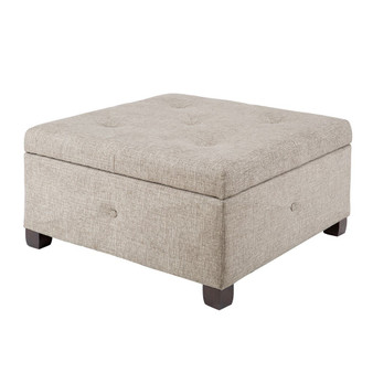 Aspen Button Tufted Storage Ottoman - Sand FPF18-0255