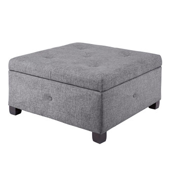 Aspen Button Tufted Storage Ottoman - Charcoal FPF18-0256