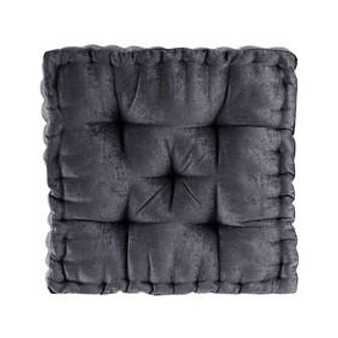 100% Polyester Chenille Square Floor Pillow Cushion - Charcoal ID31-1833