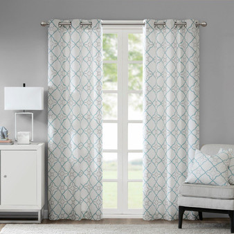 100% Cotton Duck Printed Grommet Window Curtain Set Of 2 - Aqua MP40-5614