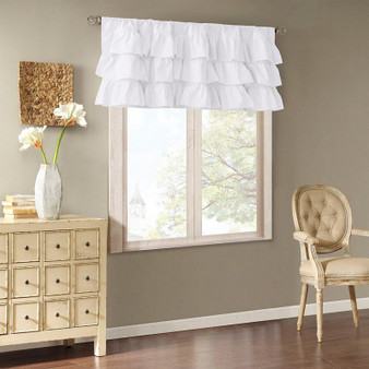 100% Cotton Voile Oversized Ruffle Valance - White MP41-5174