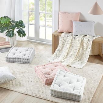 100% Cotton Jacquard Pom Pom Square Floor Pillow Cushion - Grey UH31-2335