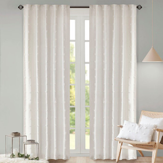 100% Cotton Jacquard Pom Pom Window Panel - Ivory UH40-2166