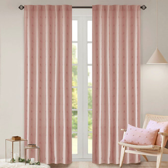 100% Cotton Jacquard Pom Pom Window Panel - Pink UH40-2173