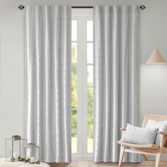 100% Cotton Jacquard Pom Pom Window Panel - Grey UH40-2179