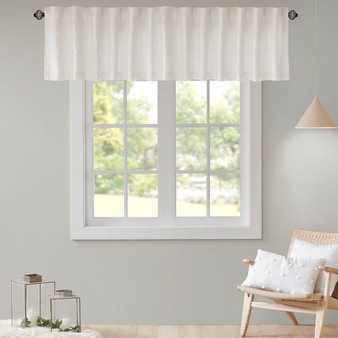 100% Cotton Jacquard Pom Pom Window Valance - Ivory UH40-2168