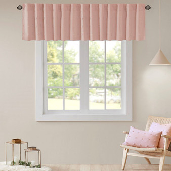 100% Cotton Jacquard Pom Pom Window Valance - Pink UH40-2174