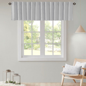 100% Cotton Jacquard Pom Pom Window Valance - Grey UH40-2180